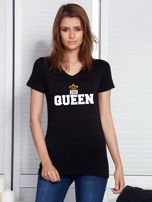 T-shirt czarny QUEEN dla par                                  zdj.                                  1