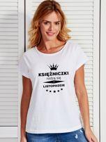 T-shirt damski KSIĘŻNICZKI RODZĄ SIĘ W LISTOPADZIE biały                                  zdj.                                  1