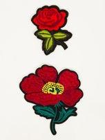 T-shirt damski błękitny z naszywkami FLOWERS                                  zdj.                                  2