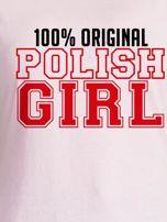 T-shirt damski patriotyczny 100% ORIGINAL POLISH GIRL jasnoróżowy                                  zdj.                                  2