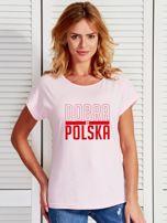 T-shirt damski patriotyczny DOBRA BO POLSKA jasnoróżowy                                  zdj.                                  1