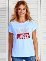 T-shirt damski patriotyczny DOBRA BO POLSKA niebieski                                  zdj.                                  1