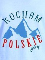 T-shirt damski patriotyczny KOCHAM POLSKIE GÓRY niebieski                                  zdj.                                  2
