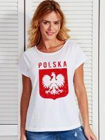 T-shirt damski patriotyczny POLSKA z Orłem Białym biały                                  zdj.                                  1
