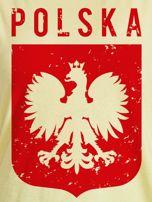 T-shirt damski patriotyczny POLSKA z Orłem Białym żółty                                  zdj.                                  2