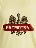 T-shirt damski patriotyczny z nadrukiem Orła Białego żółty                                  zdj.                                  2