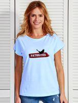 T-shirt damski patriotyczny z orłem PATRIOTKA niebieski                                  zdj.                                  1