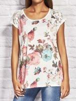 T-shirt damski z motywem roślinnym ecru                                  zdj.                                  1