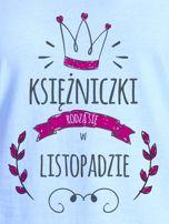T-shirt damski z nadrukiem KSIĘŻNICZKA niebieski                                  zdj.                                  2