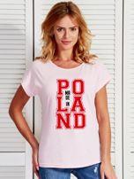 T-shirt damski z nadrukiem MADE IN POLAND jasnoróżowy                                  zdj.                                  1