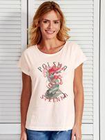 T-shirt damski z nadrukiem Warszawskiej Syrenki ecru                                  zdj.                                  1