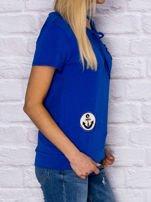 T-shirt damski z wiązaniem i naszywkami ciemnoniebieski                                  zdj.                                  3