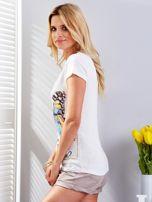T-shirt ecru z motylem                                  zdj.                                  5