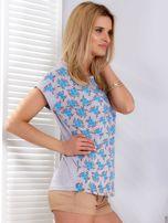 T-shirt jasnoszary w kwiaty                                  zdj.                                  3