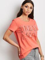 T-shirt pomarańczowy z napisem cut out                                  zdj.                                  3