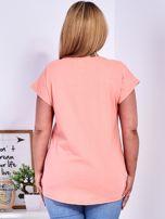 T-shirt różowy z nadrukiem PLUS SIZE                                  zdj.                                  2