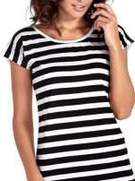 T-shirt w biało-czarne pasy z koronką z tyłu                                  zdj.                                  5