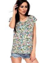 T-shirt w kolorowe drobne kwiatki                                  zdj.                                  3