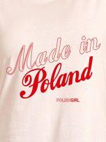 T-shirt z patriotycznym nadrukiem MADE IN POLAND ecru                                  zdj.                                  2