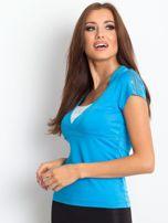 T-shirt z wycięciem na plecach niebieski                                  zdj.                                  3