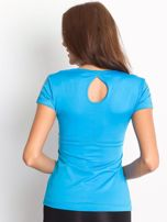 T-shirt z wycięciem na plecach niebieski                                  zdj.                                  2