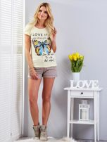 T-shirt żółty z motylem                                  zdj.                                  5