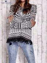 TOM TAILOR Biały sweter w etnicznym stylu z frędzlami                                   zdj.                                  1