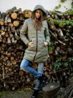 TOM TAILOR Granatowy ocieplany płaszcz z odpinanym kapturem