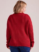 TOM TAILOR Czerwony wełniany sweter o grubszym splocie                                  zdj.                                  4