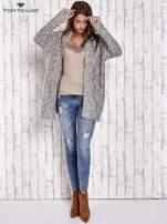 TOM TAILOR Ecru fakturowany sweter kardigan