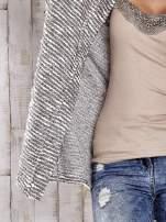 TOM TAILOR Ecru fakturowany sweter kardigan                                   zdj.                                  5
