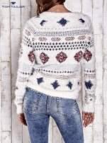 TOM TAILOR Ecru puszysty sweter w azteckie wzory                                  zdj.                                  5