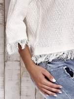 TOM TAILOR Ecru sweter z graficznym wzorem i frędzlami                                  zdj.                                  5