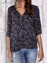 TOM TAILOR Granatowa koszula z podwijanymi rękawami wzór paisley                                  zdj.                                  2