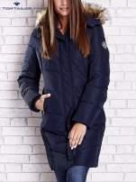 TOM TAILOR Granatowy płaszcz z futrzanym kapturem