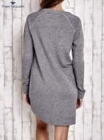TOM TAILOR Szara długa melanżowa sukienka z kieszeniami