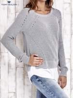 TOM TAILOR Brzoskwiniowy sweter z koszulą