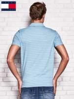 TOMMY HILFIGER Niebieska koszulka polo męska w paski                                  zdj.                                  2