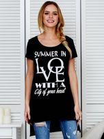 Tunika czarna bawełniana SUMMER IN LOVE                                  zdj.                                  1