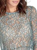Turkusowa bluzka koszulowa z koronki ze skórzanymi mankietami                                                                          zdj.                                                                         5