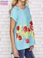 Turkusowa koszula z motywem kwiatów                                  zdj.                                  3