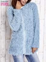 Turkusowy futrzany sweter kurtka na suwak                                  zdj.                                  4