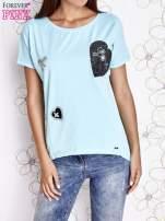 Turkusowy t-shirt z motywem serca i kokardki                                  zdj.                                  1