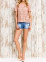 VERO MODA Różowy ażurowy t-shirt                                  zdj.                                  5