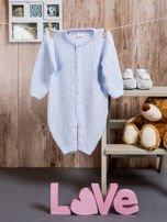 Włóczkowy rozpinany kombinezon niemowlęcy jasnoniebieski                                  zdj.                                  3