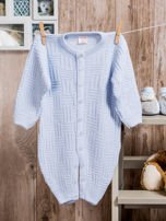 Włóczkowy rozpinany kombinezon niemowlęcy jasnoniebieski                                  zdj.                                  1