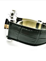 ZEMGE Zegarek unisex czarny na skórzanym czarnym pasku Eleganckie pudełko prezentowe w komplecie                                  zdj.                                  2