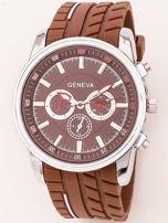 Zegarek męski brązowy z ozdobnym chronografem na tarczy i bieżnikowanym paskiem                                   zdj.                                  1