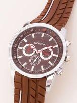 Zegarek męski brązowy z ozdobnym chronografem na tarczy i bieżnikowanym paskiem                                   zdj.                                  3