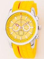 Zegarek męski żółty z ozdobnym chronografem i wzorem bieżnika na pasku                                   zdj.                                  1
